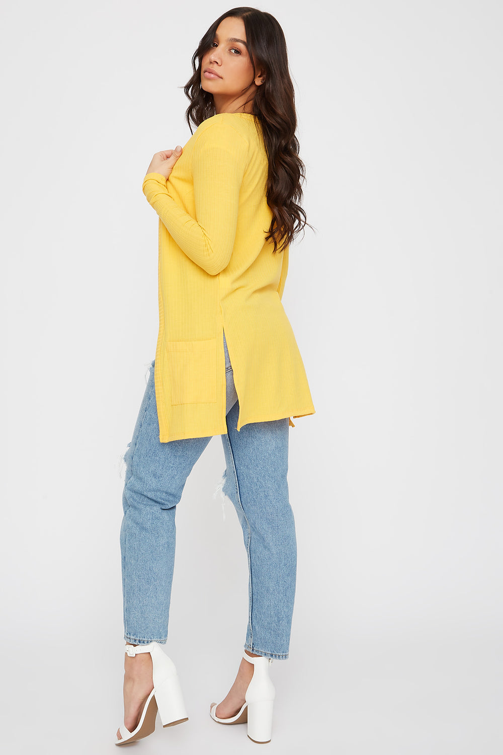 Ribbed Long Sleeve Open Front Cardigan Yellow
