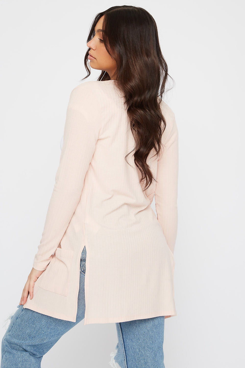 Ribbed Long Sleeve Open Front Cardigan Light Pink