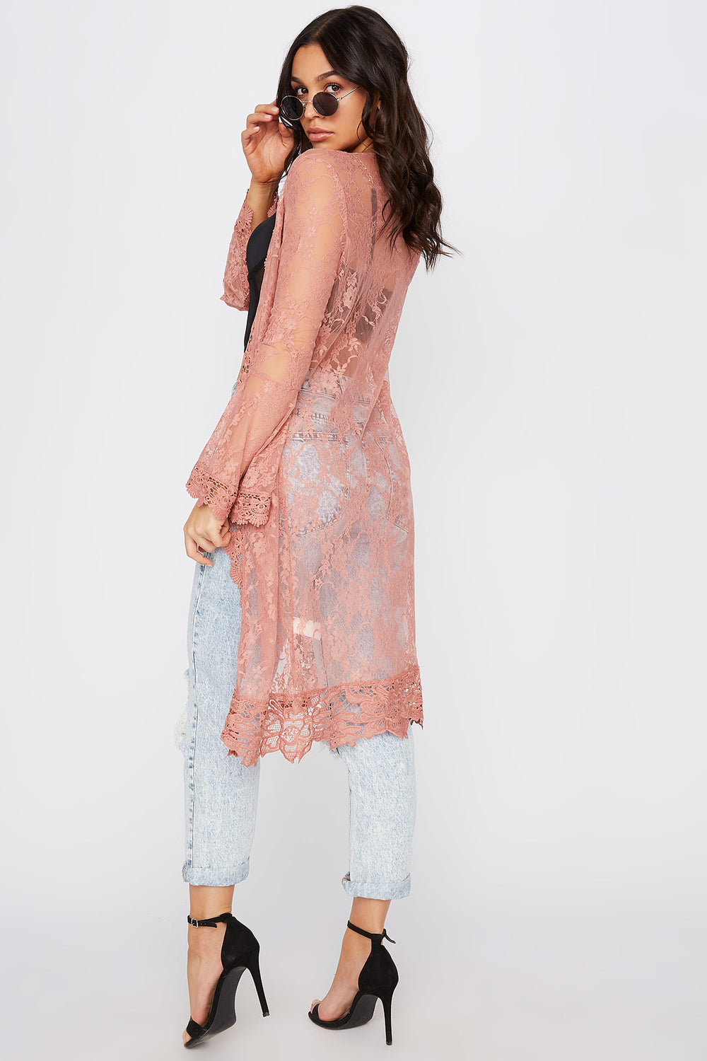 Lace Flounce Sleeve Open Front Cardigan Dusty Rose