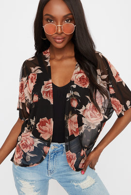 Printed Mesh Open Front Cardigan