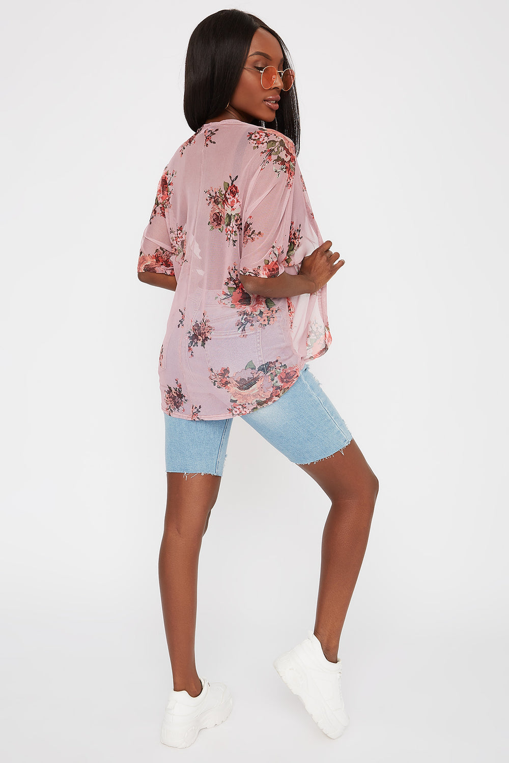 Printed Mesh Open Front Cardigan Rose