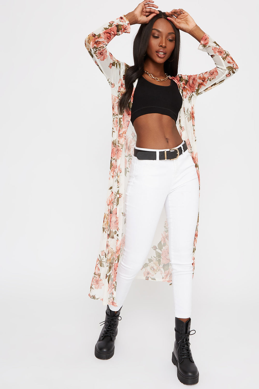Floral Mesh Longline Open Front Cardigan Ivory