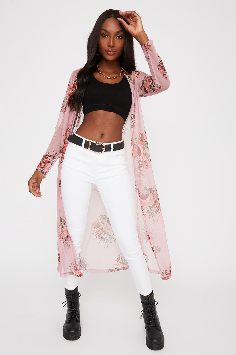 Floral Mesh Longline Open Front Cardigan Rose