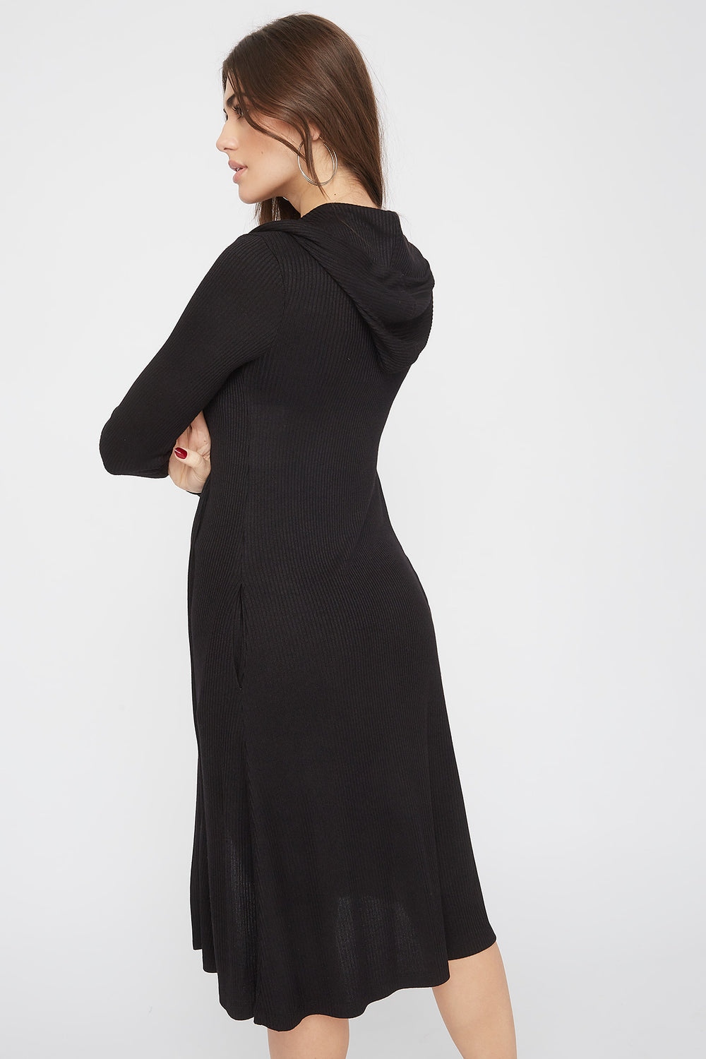 Ribbed Hooded Open-Front Maxi Cardigan Black