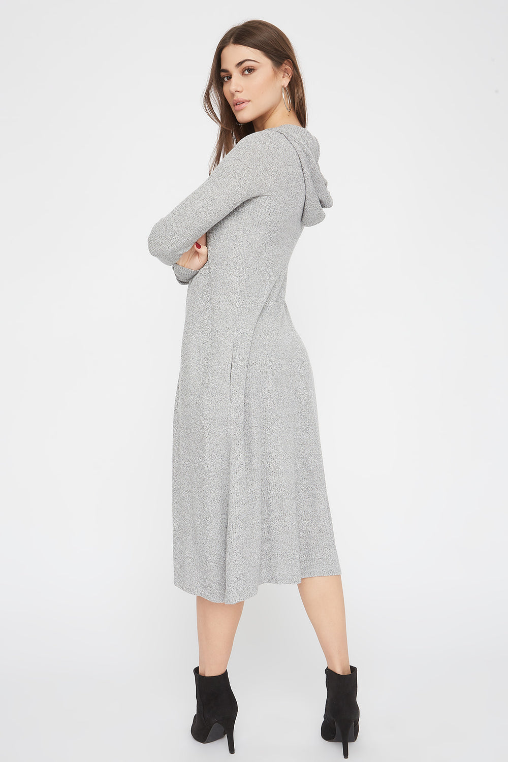 Ribbed Hooded Open-Front Maxi Cardigan Heather Grey