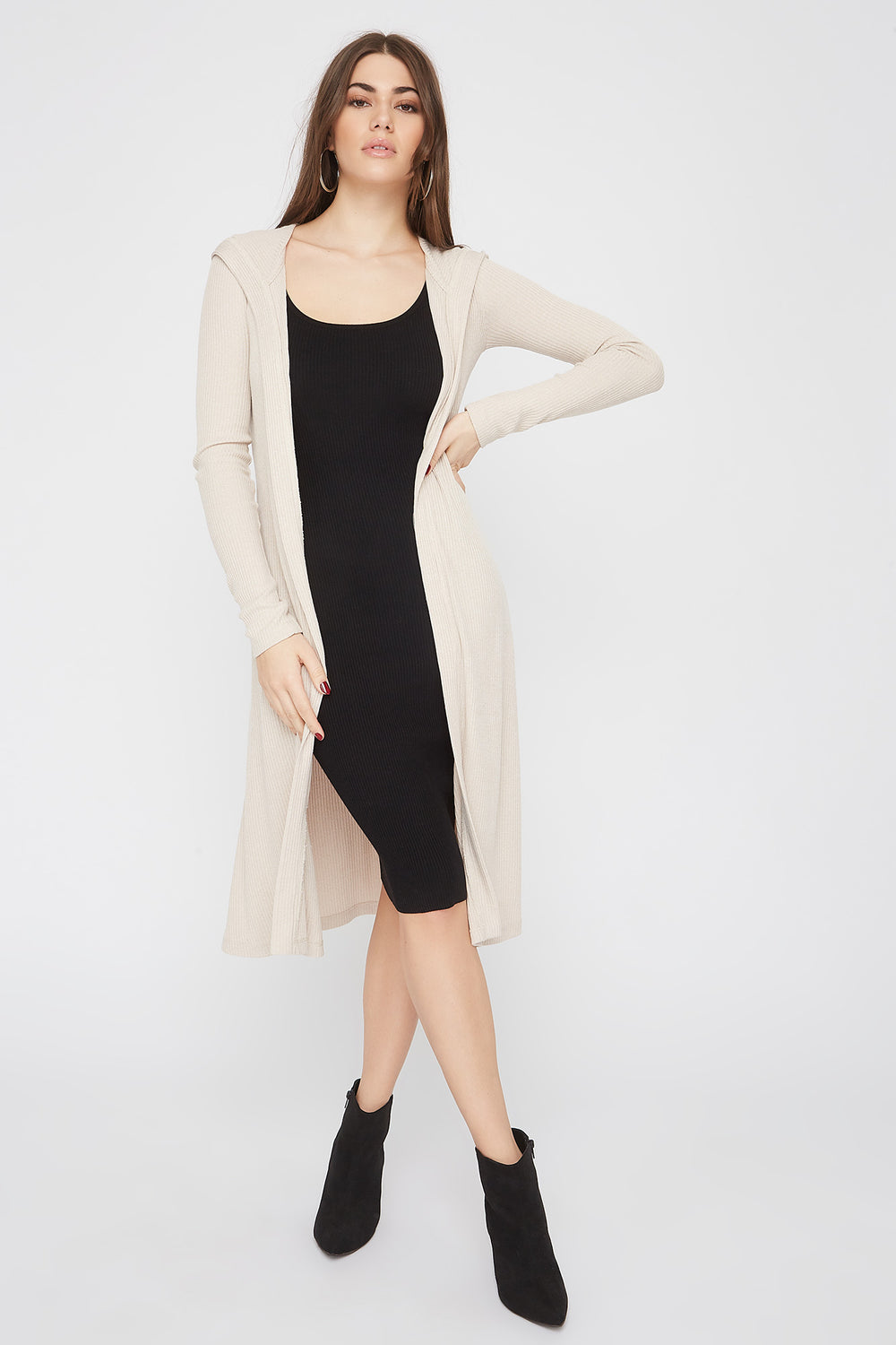 Ribbed Hooded Open-Front Maxi Cardigan Oatmeal