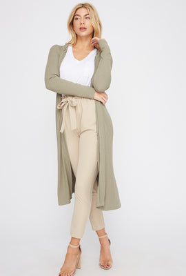 Ribbed Hooded Open-Front Maxi Cardigan