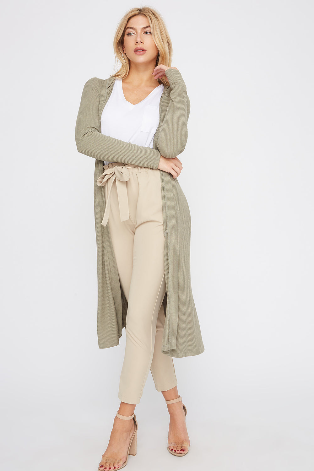 Ribbed Hooded Open-Front Maxi Cardigan Dark Green