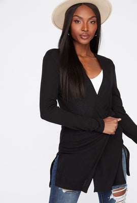 Lightweight Side Slit Knit Cardigan