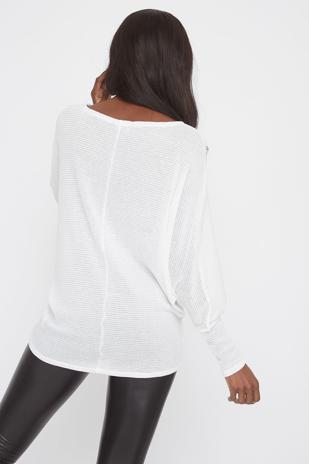 Waffle Knit Off The Shoulder Dolman Sleeve Sweater White