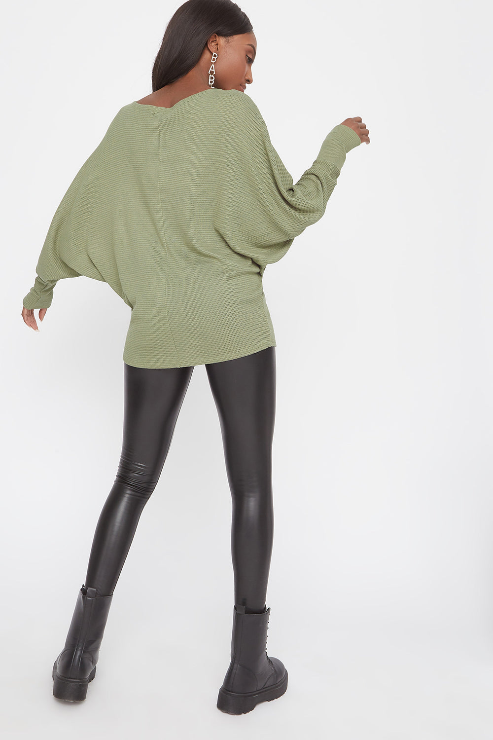 Waffle Knit Off The Shoulder Dolman Sleeve Sweater Dark Green