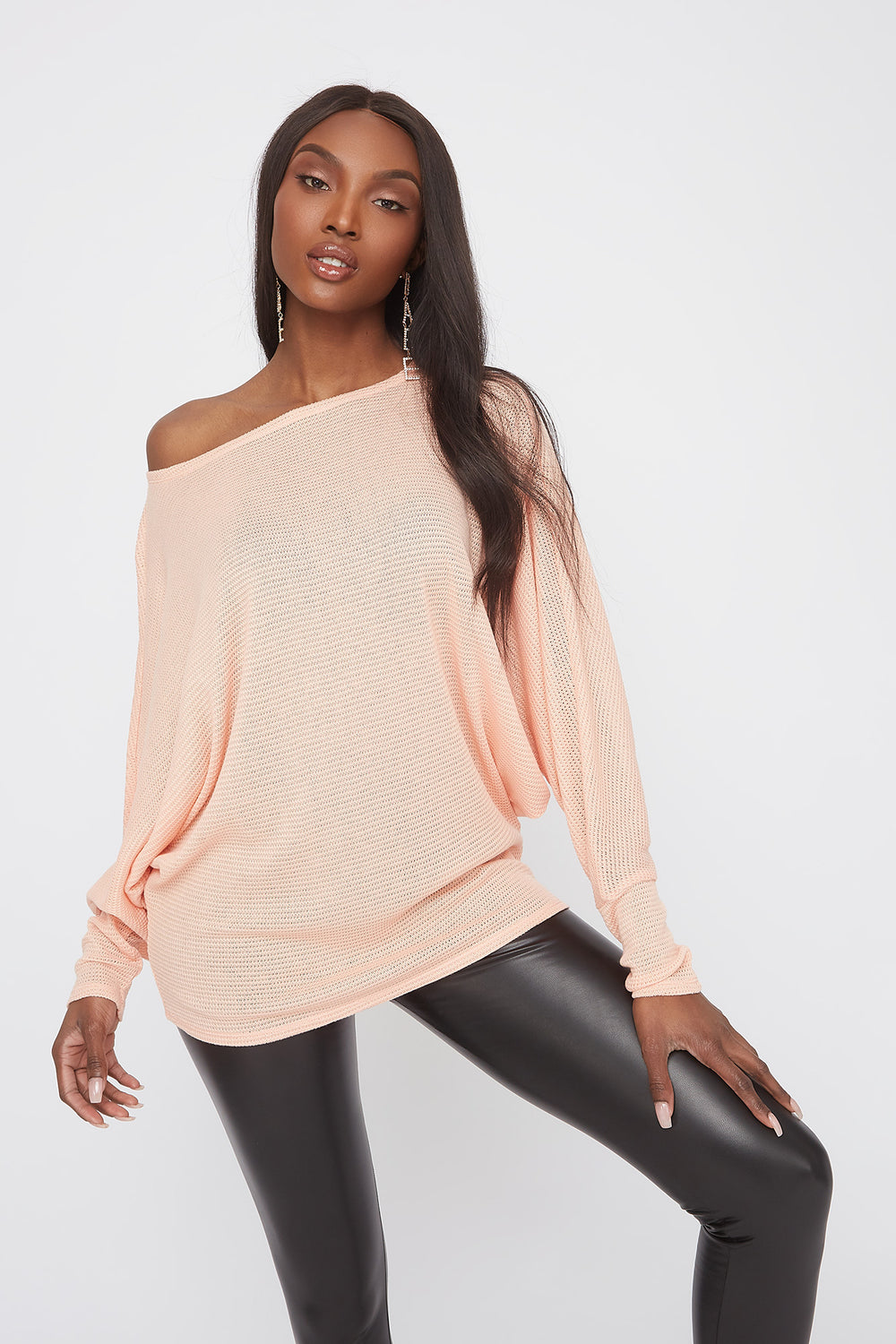 Waffle Knit Off The Shoulder Dolman Sleeve Sweater Peach