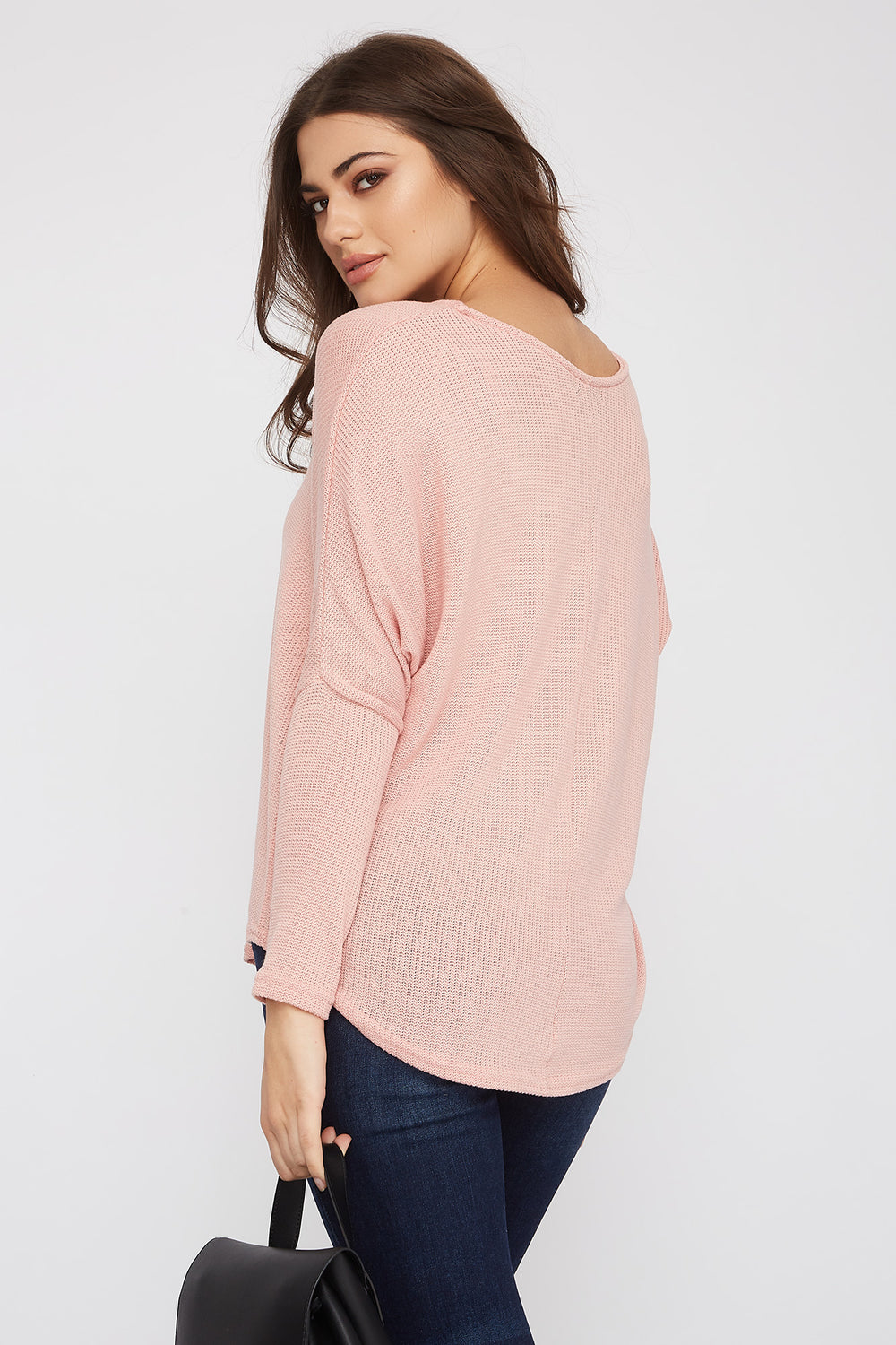 Knit Scoop Neck Long Sleeve Pink