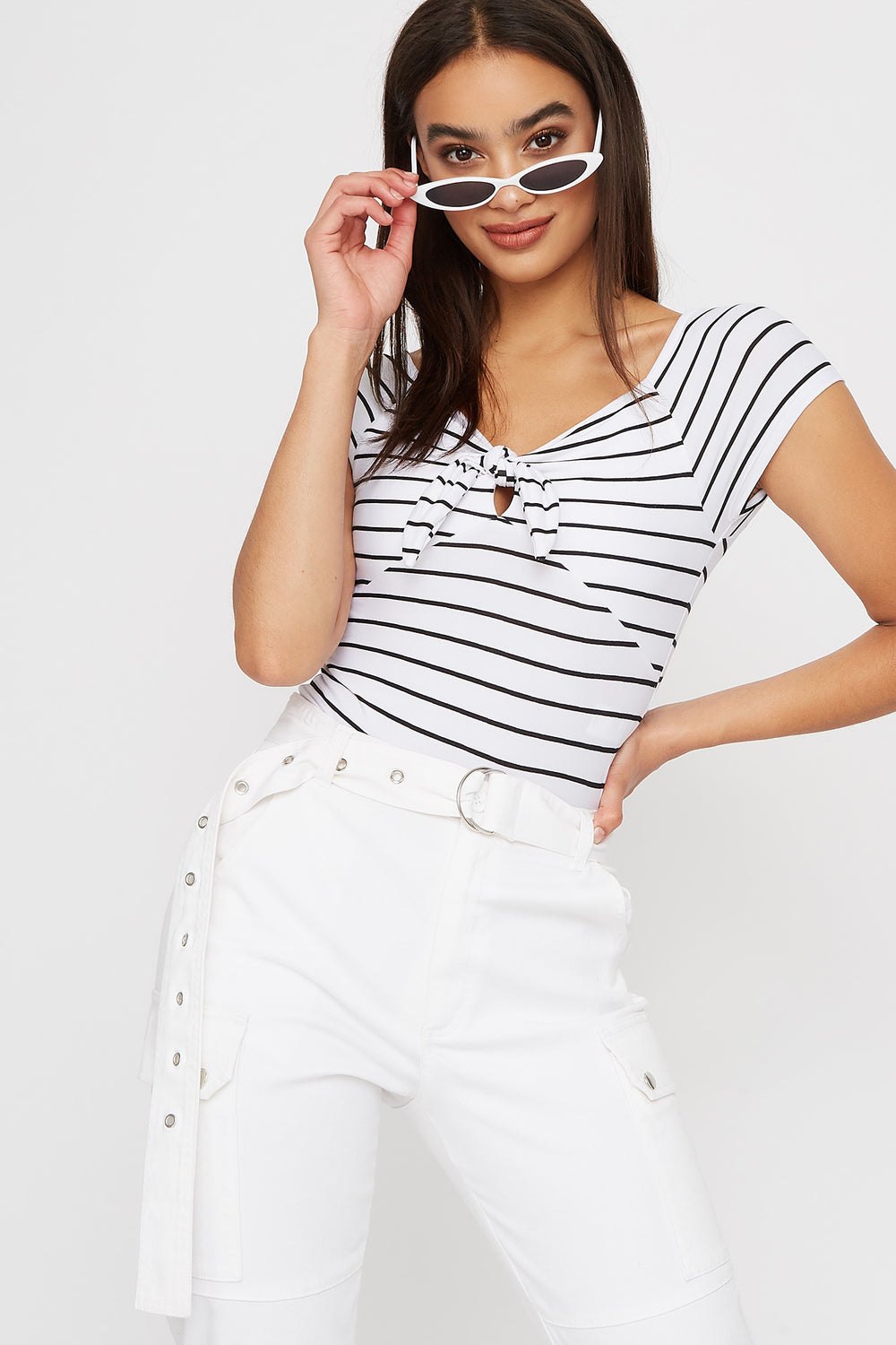 Striped Tie Cut Out Cropped T-Shirt White
