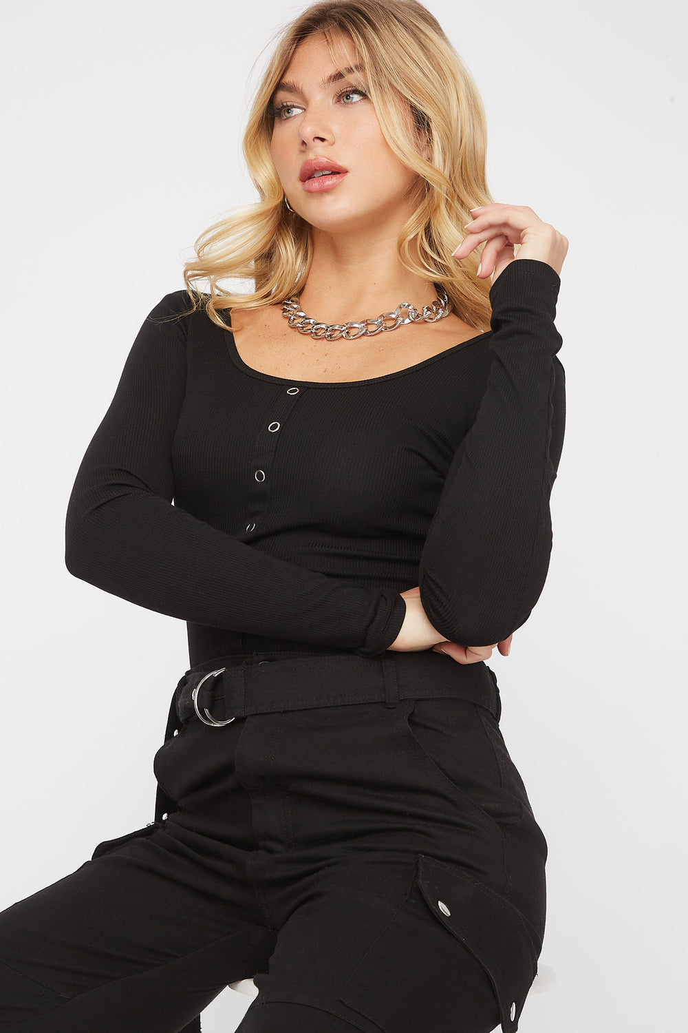 Ribbed Square Neck Snap Button Long Sleeve Black