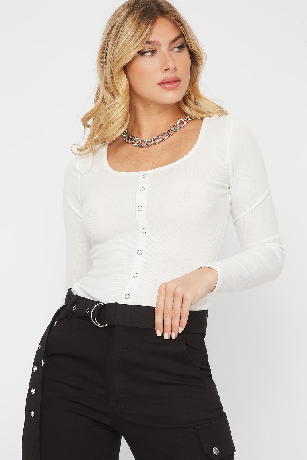 Ribbed Square Neck Snap Button Long Sleeve Cream