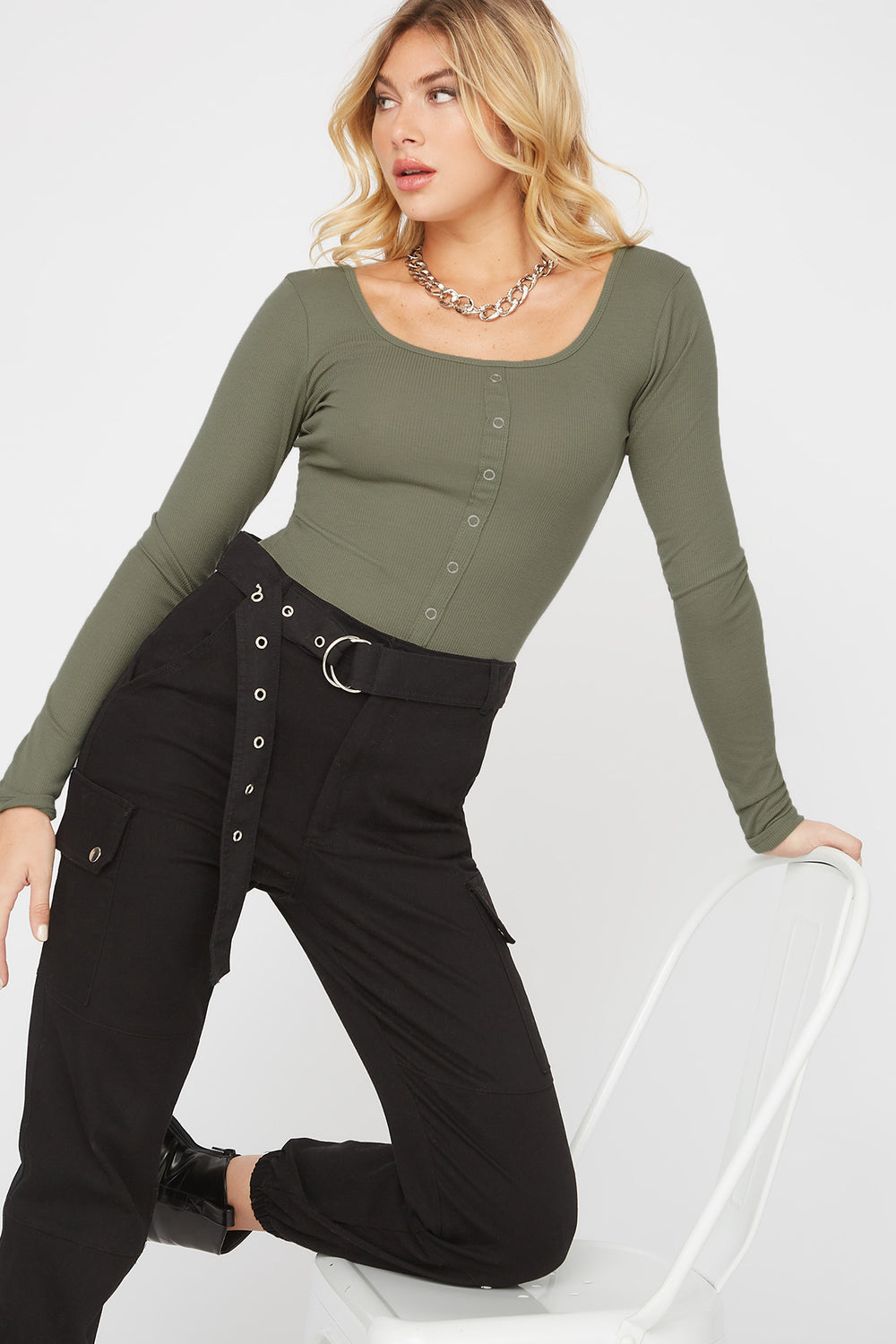 Ribbed Square Neck Snap Button Long Sleeve Dark Green