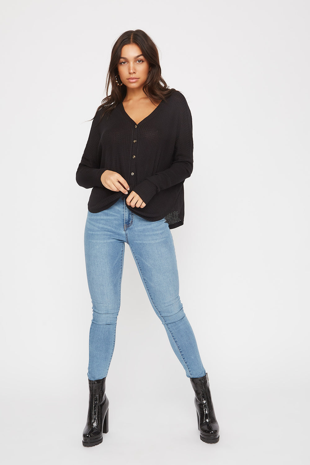 Waffle Knit Button-Up Long Sleeve Shirt Black