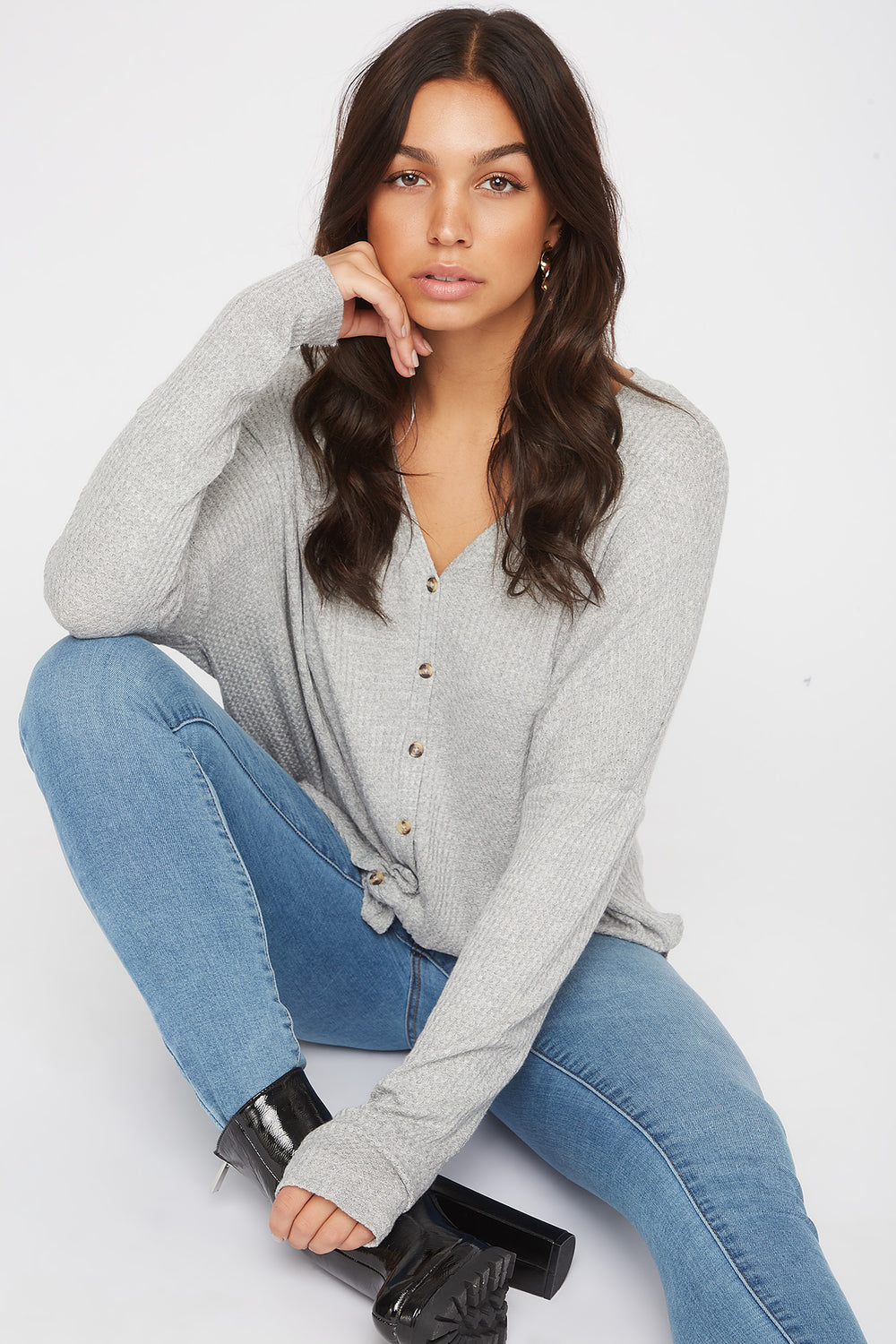 Waffle Knit Button-Up Long Sleeve Shirt Heather Grey