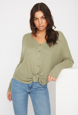 Waffle Knit Button-Up Long Sleeve Shirt