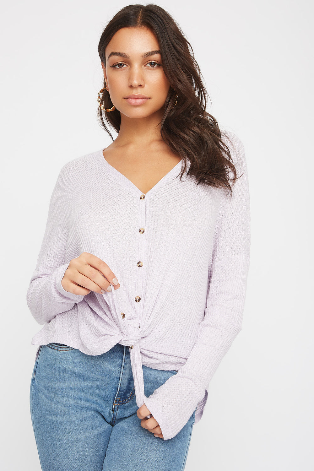 Waffle Knit Button-Up Long Sleeve Shirt Lilac