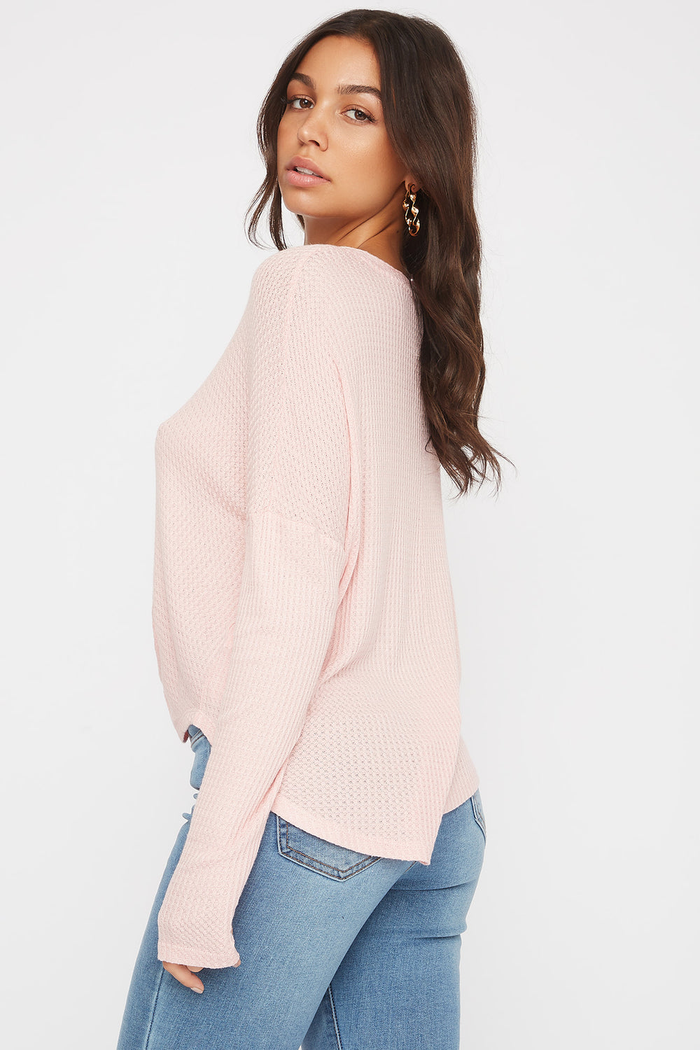 Waffle Knit Button-Up Long Sleeve Shirt Pink