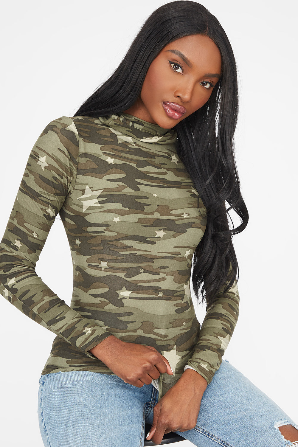 Camo Printed Turtleneck Mask Long Sleeve Top Camouflage