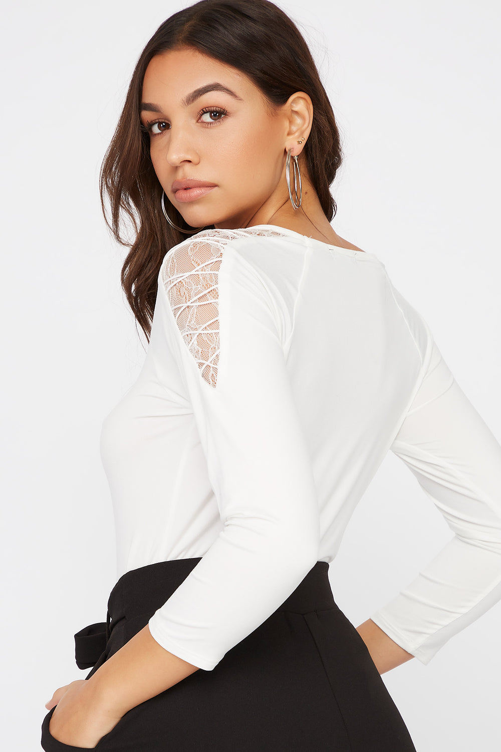 Soft Lace Shoulder Long Sleeve White