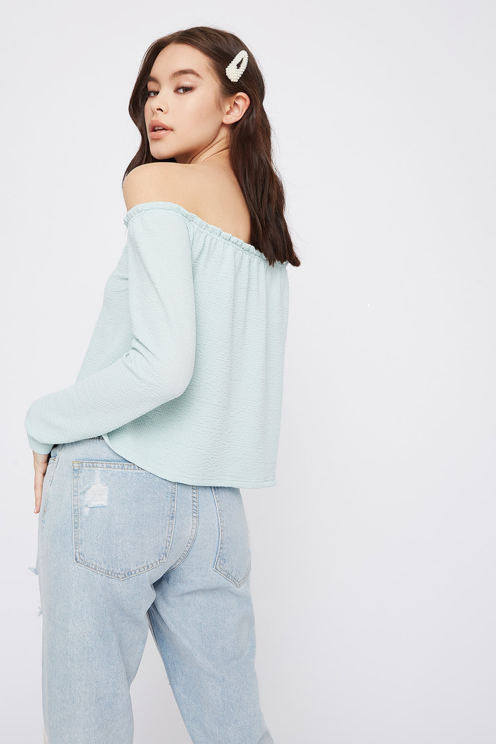 Off The Shoulder Notch Neck Long Sleeve Top Blue