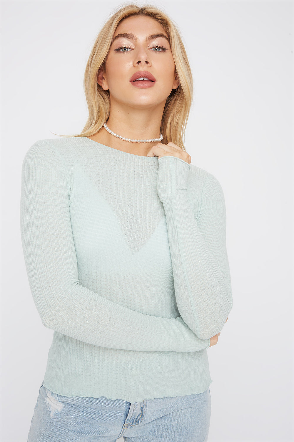 Frill Hem Thermal Long Sleeve Turquoise