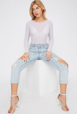 Frill Hem Thermal Long Sleeve