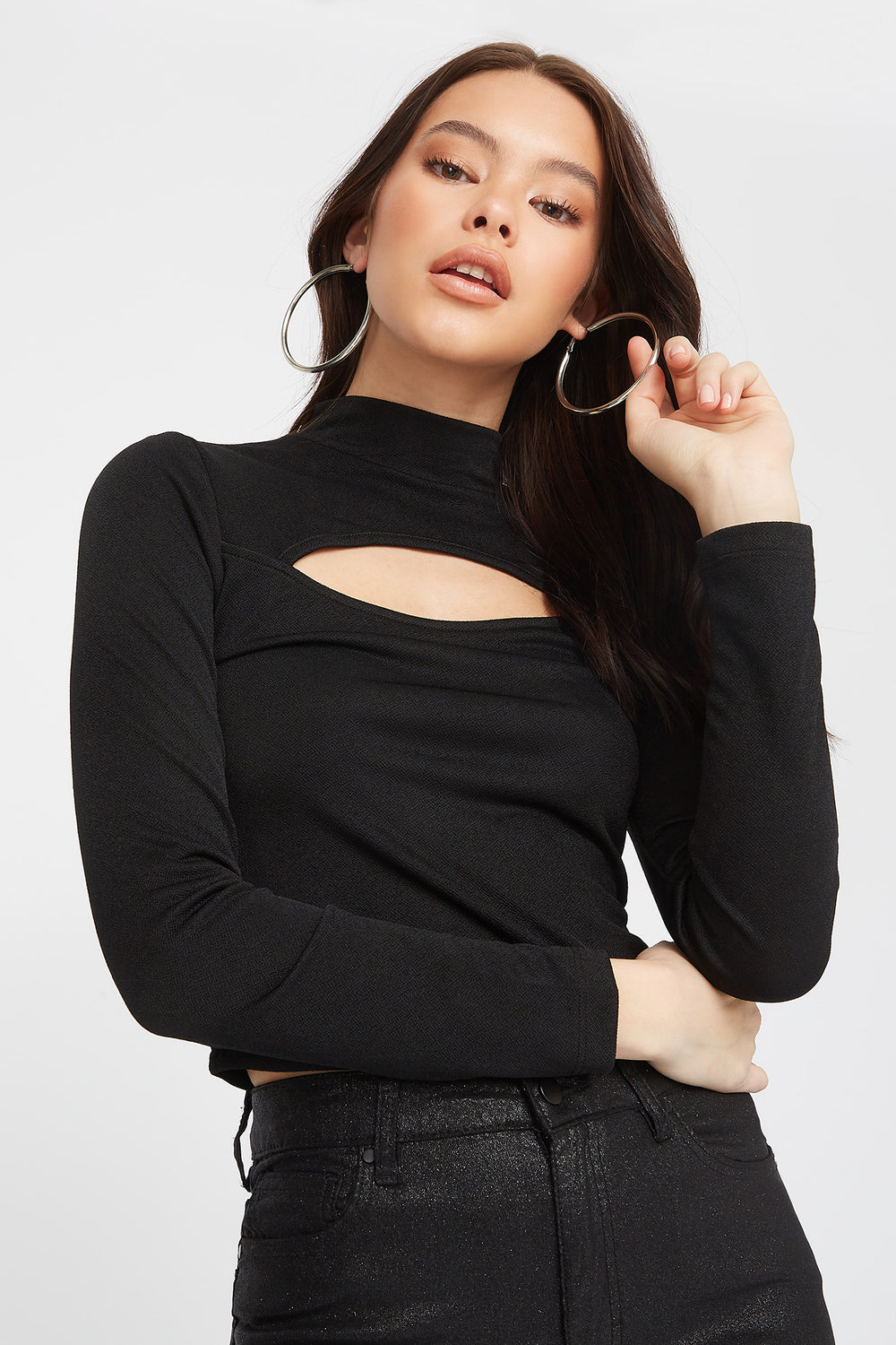 Crepe Cut Out Turtleneck Long Sleeve Black