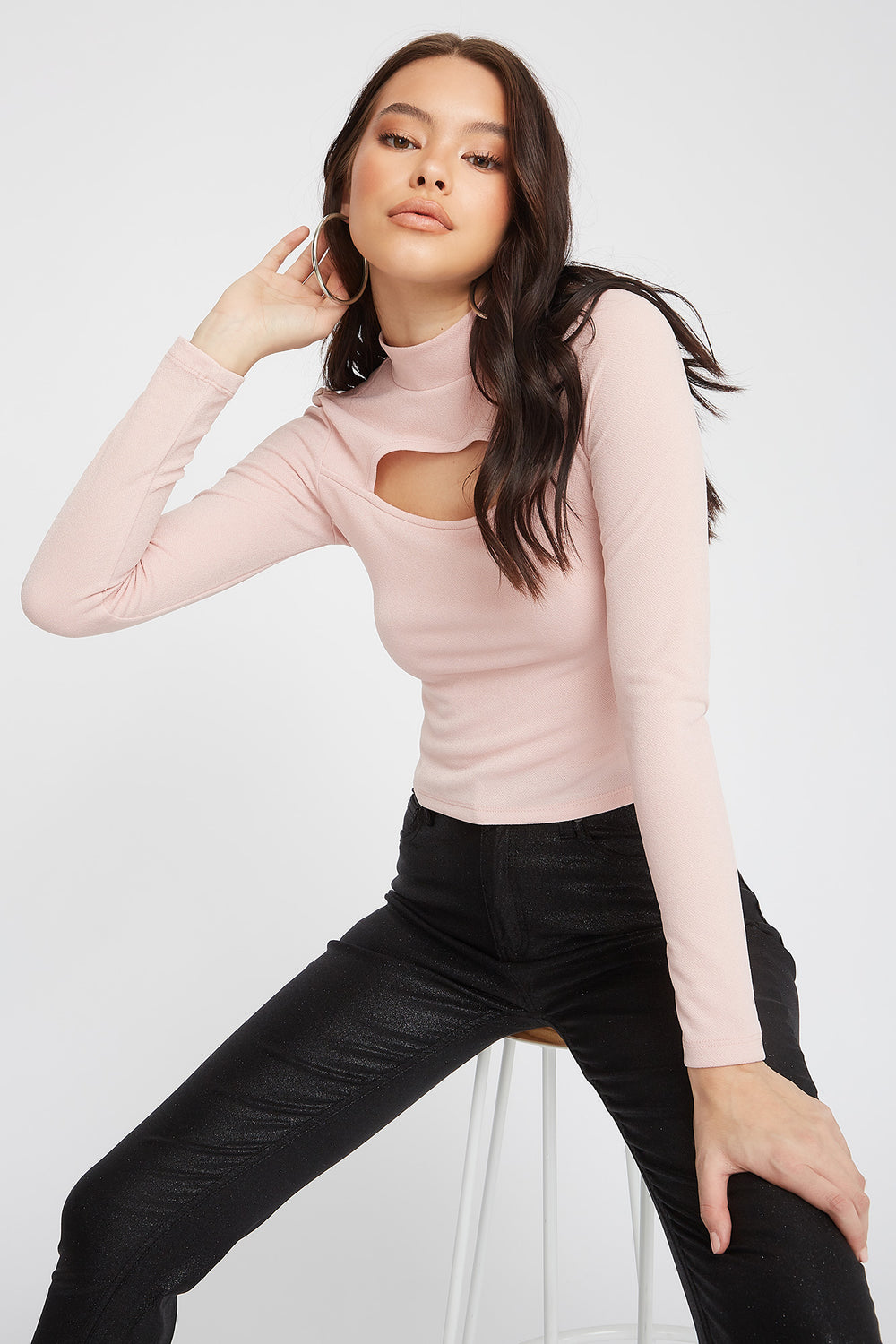 Crepe Cut Out Turtleneck Long Sleeve Rose