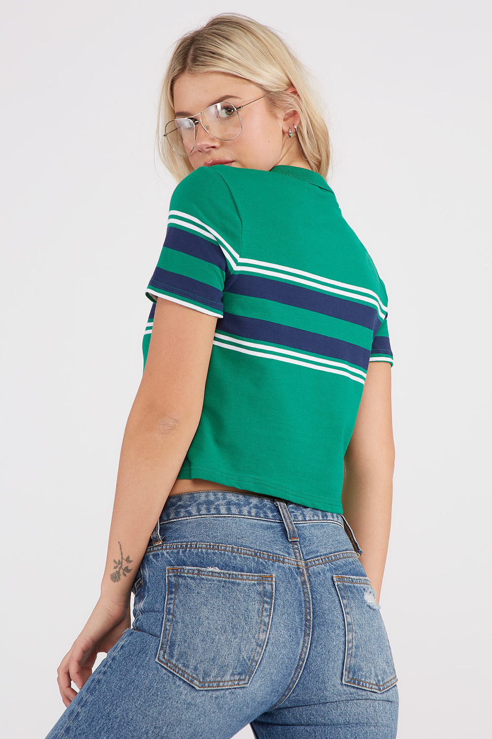 Striped Boxy Cropped Polo T-Shirt Jade