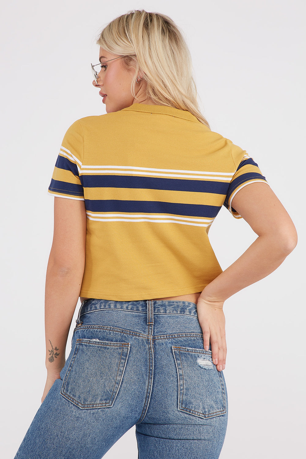 Striped Boxy Cropped Polo T-Shirt Gold