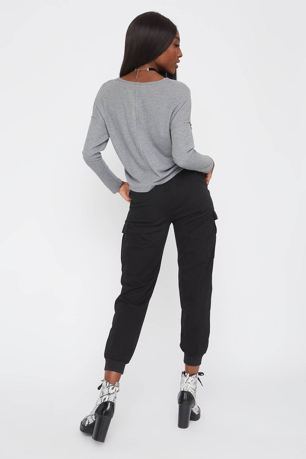 Thermal V-Neck Cropped Long Sleeve Heather Grey