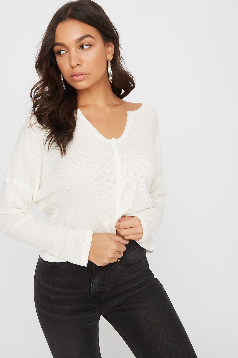 Thermal V-Neck Cropped Long Sleeve Cream