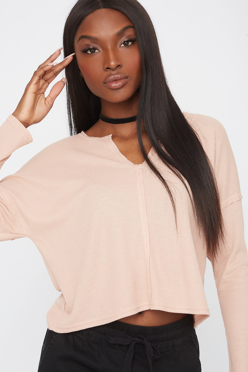 Thermal V-Neck Cropped Long Sleeve Rose