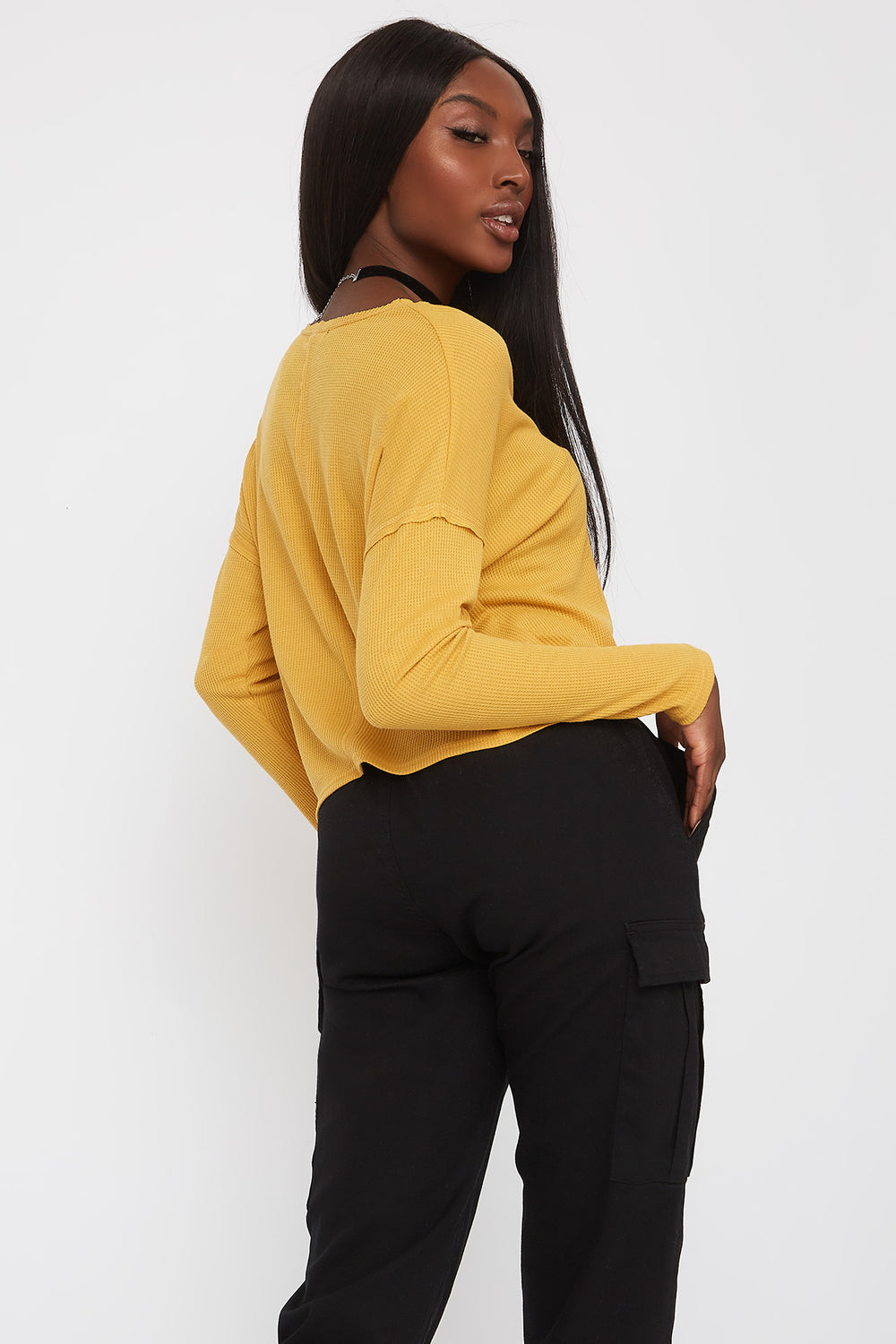 Thermal V-Neck Cropped Long Sleeve Mustard