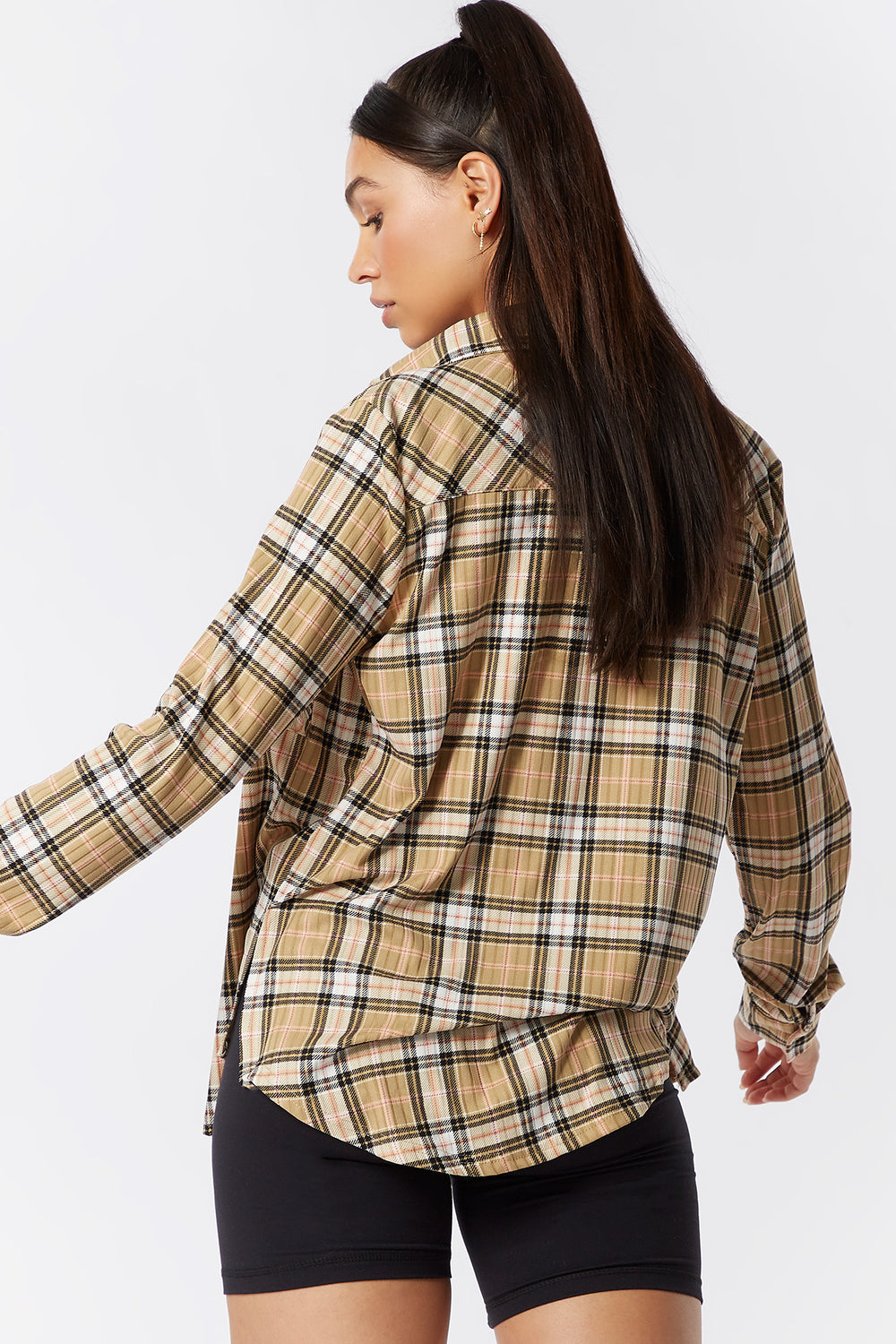 Soft Ribbed Oversized Plaid Button-Up Top Beige