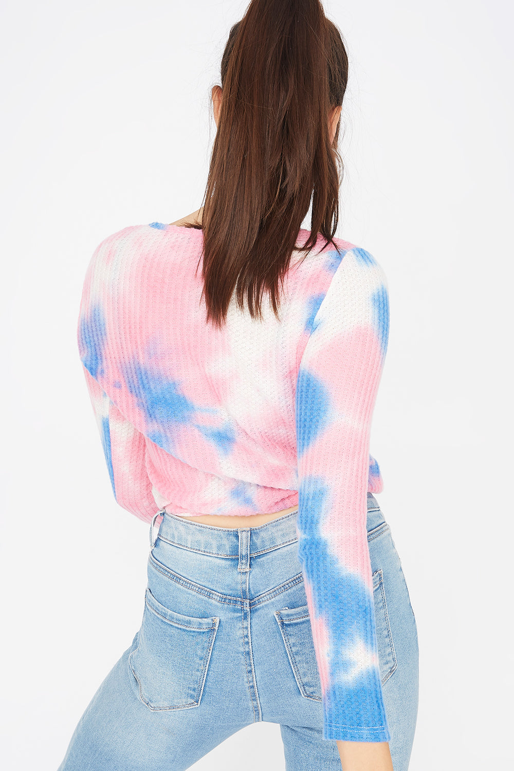 Waffle Knit Pink Tie Dye Cinched Hem Top Navy