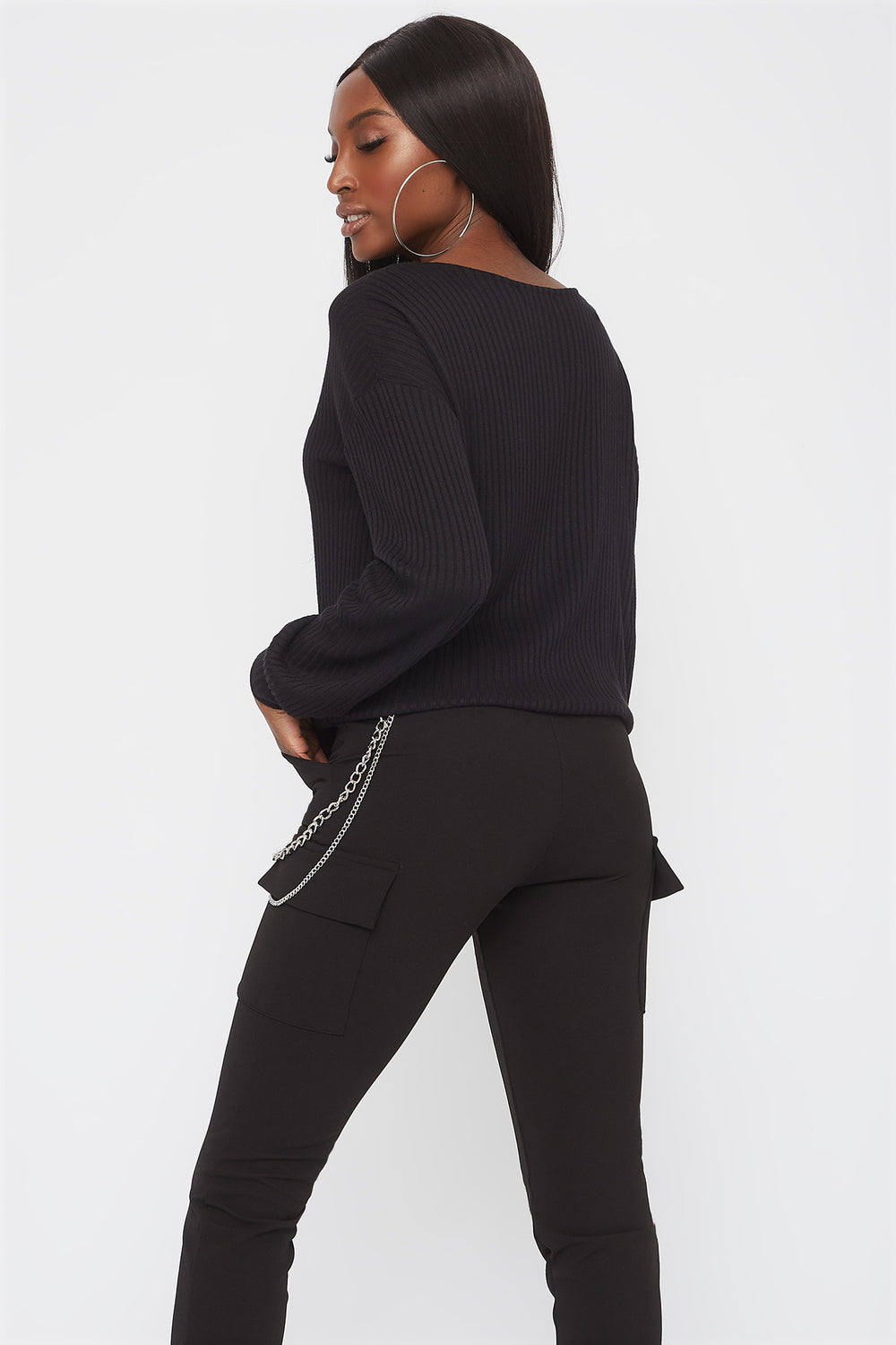 Ribbed V-Neck Drawstring Waist Sweater Black