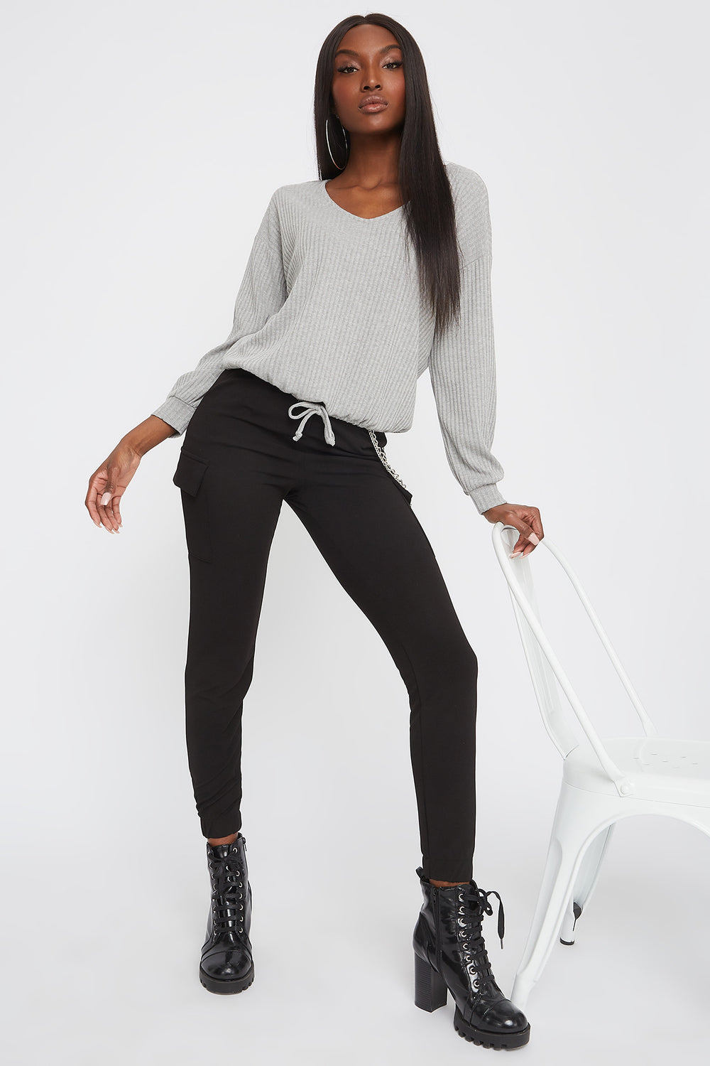 Ribbed V-Neck Drawstring Waist Sweater Heather Grey
