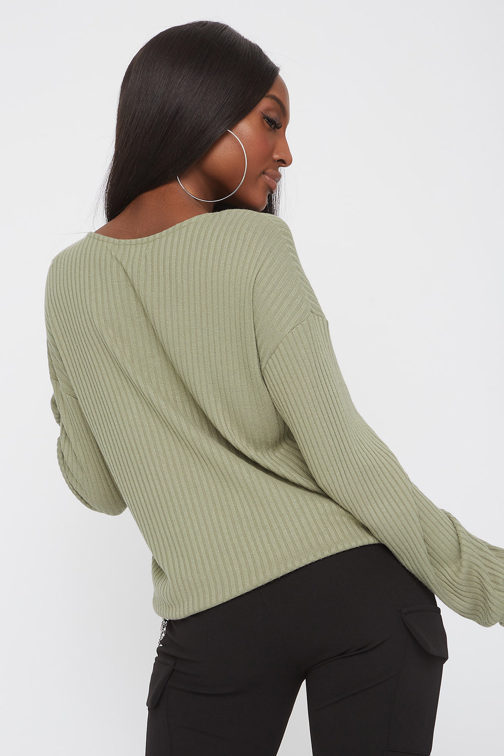 Ribbed V-Neck Drawstring Waist Sweater Dark Green