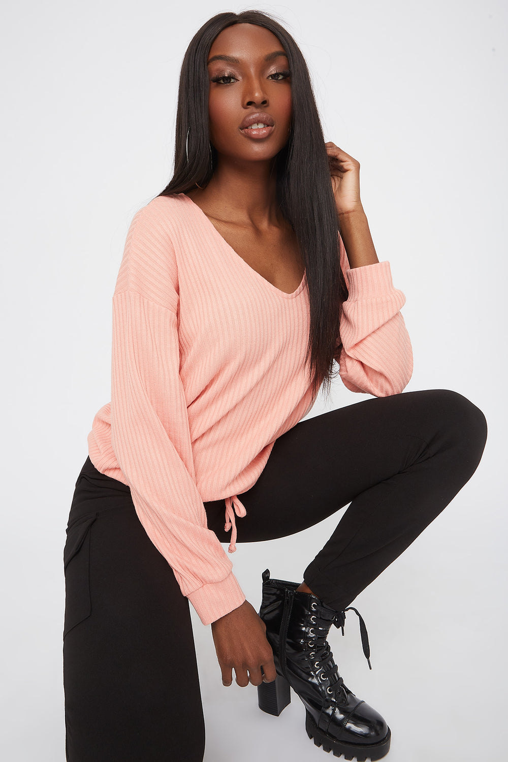 Ribbed V-Neck Drawstring Waist Sweater Pink
