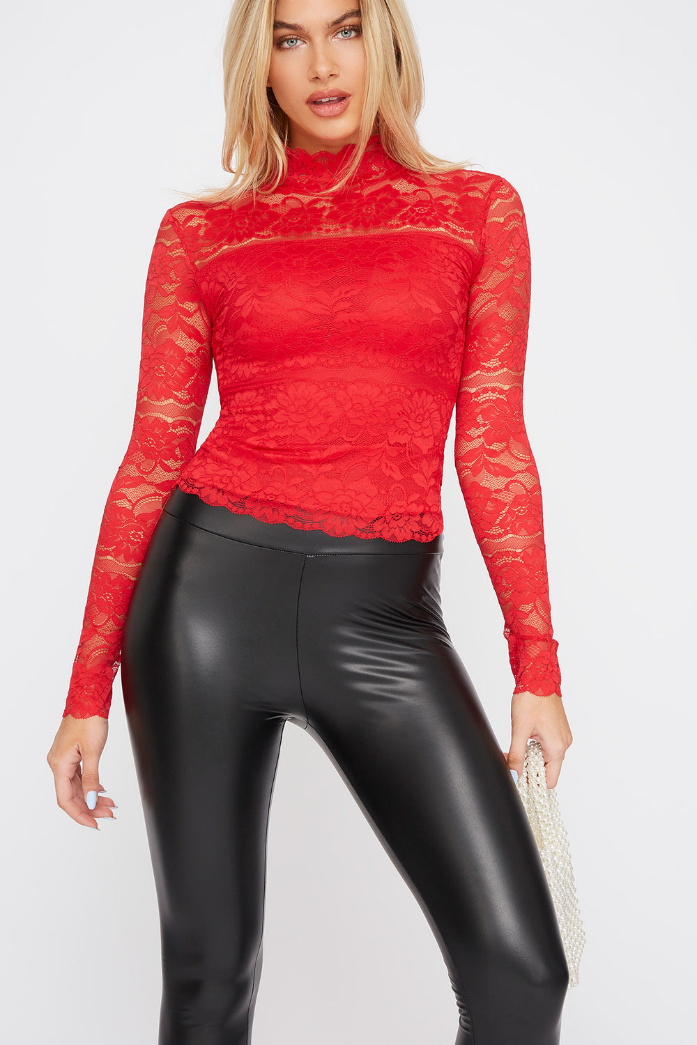 Lace Mock Neck Long Sleeve Bright Red