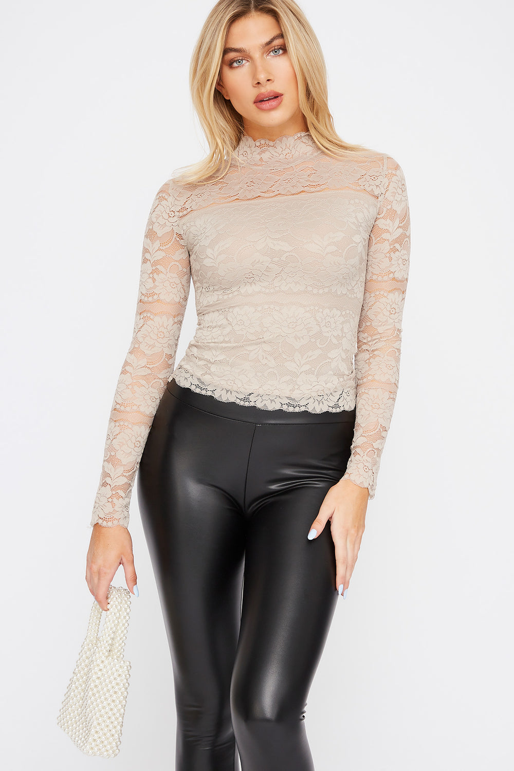 Lace Mock Neck Long Sleeve Taupe