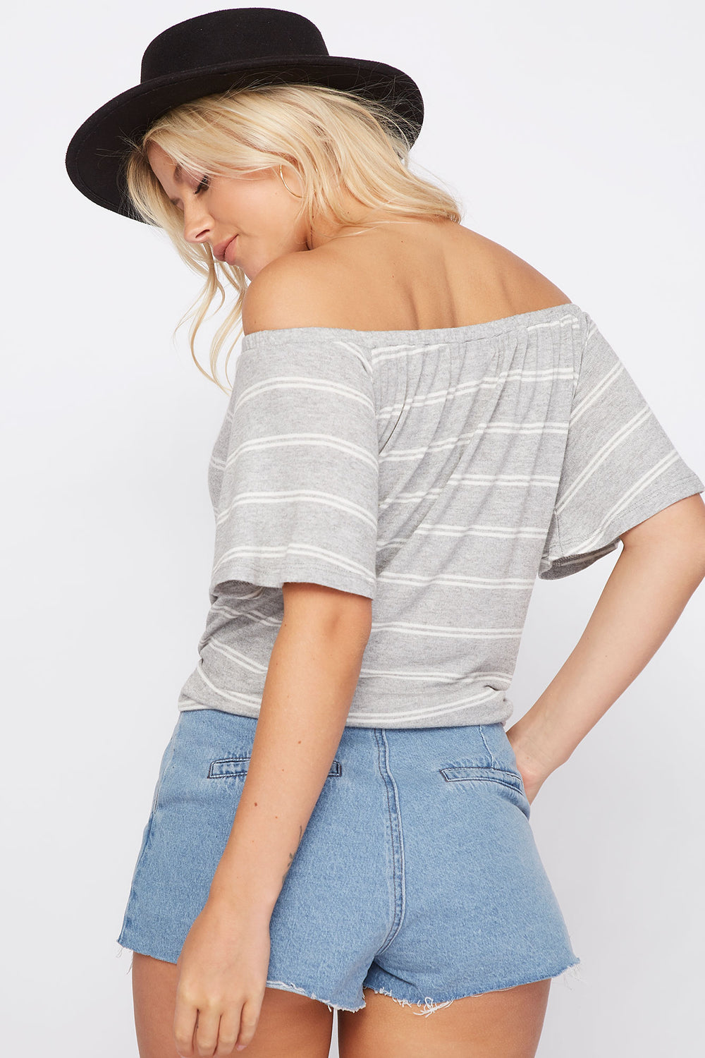 Striped Off the Shoulder Button Front Tie Short Sleeve Top Heather Grey