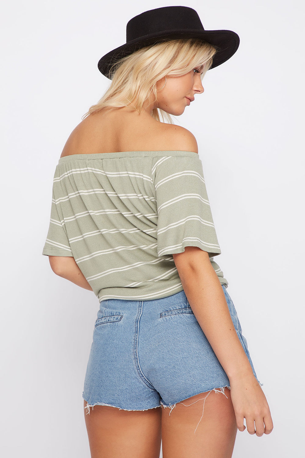 Striped Off the Shoulder Button Front Tie Short Sleeve Top Sage