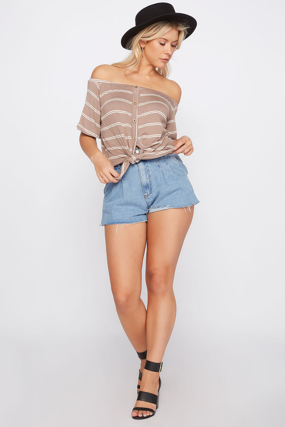 Striped Off the Shoulder Button Front Tie Short Sleeve Top Taupe
